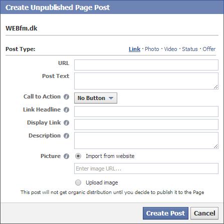Facebook CTA knapper